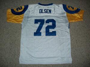 MERLIN OLSEN Unsigned Custom LA White Sewn New Football Jersey Sizes S-3XL