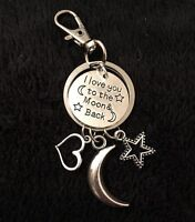 Heart Keyring Charm Keychain I Love You To The Moon And Back Mothers Day Gift