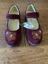 NWT New Naturino Burgundy Red Mary Jane Flower Gem Girls Shoes EU 30 12.5 US