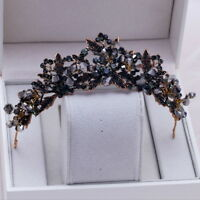 All Black Crystal 4.5cm High Adult Wedding Bridal Party Pageant Prom Tiara Crown