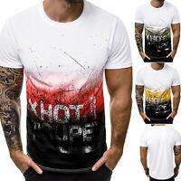 Men Short Sleeve Print Baseball Sports T-Shirt Crew Neck Summer Casual Tee Top