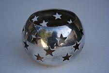 Photophore Bougeoir boule en métal argenté ajourée de ravissant petit coeur