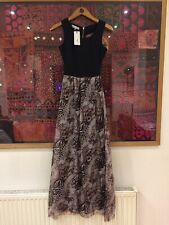 RARE LONDON Maxi Dress With Leopard Print Skirt And Cut Out Back 6 UK BNWT