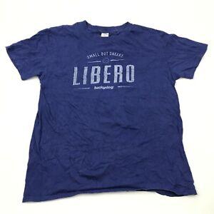 Libero Luckydog Volleyball Shirt Men's Size Medium M Blue Tee SMALL BUT SNEAKY