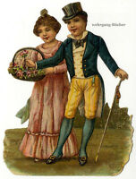 Vintage Victorian die cut paper scrap, stylish couple c. 1880