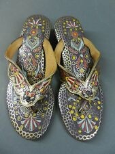 Vtg 50s Tourist Souvenir Indian Painted Purple Shoe Thong Wedge Heel Sandals 7