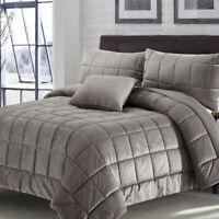Poseidon Comforter Quilt Set Luxury Velour Polyester   Greek Key Design   Latte