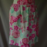Half Apron Vintage White With Hot Pink Flowers Handmade Green Leaves