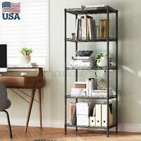 US 5 Tier Metal Kitchen Shelf Storage Rack Home Office Holder Organizer Mat Hook