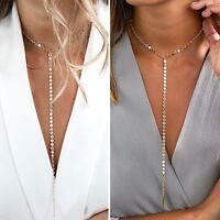 Women Long Pendant Chain Choker High Statement Bib Necklace Fashion Jewelry