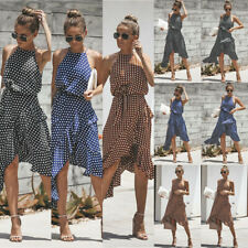 Womens Spotted Sleeveless Summer Beach Dress Ladies Holiday Casual Dresses UK