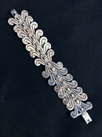 VINTAGE STERLING SILVER HAND MADE BRACELET FROM MEXICO MARKED SCROLLS DECOR.