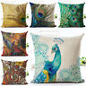 """Fashion Peacock Pillow Case Sofa Bedroom Decor Throw Linen Cushion Cover 18"""" New"""