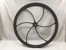 ANTIQUE LARGE CAST IRON WHEEL CORN SHELLER, COFFEE GRINDER PRIMITIVE OLD FARM