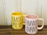 Rae Dunn Easter By Magenta Yellow CRACK ME UP, Pink HUNNY BUNNY Mug , Set of 2
