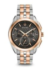 Bulova CURV Chronograph Rose Two-Tone Stainless Steel Watch 98A160 New