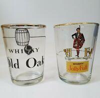Small Vintage Jolly Full Whisky Whiskey Glasses Old Oak