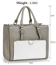 Women's Large 3 Compartment Bags Zipper Pockets Shoulder Tote Handbags For Women