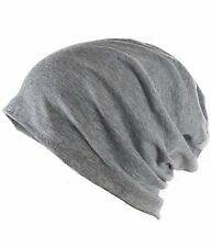 Grey Unisex Woolen Skull Cap Slouchy Beanie Cap For Men & Women