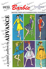 Advance 9939 - for 11 1/2 inch dolls such as barbie - sewing pattern