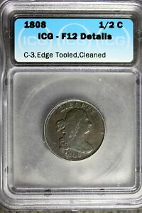 1808 - ICG F12 DETAILS C-3,EDGE TOOLED,CLEANED DRAPED BUST HALF CENT! #B24375