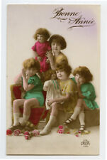 1920s Child Children KIDS w/ DOLLS Girls Boys photo postcard
