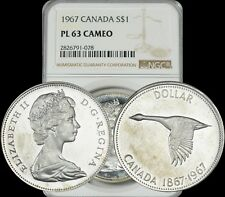 1967 CANADA GOOSE SILVER $1 DOLLAR NGC PL63 CAMEO PROOF LIKE COIN