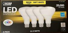Feit LED Dimmable BR30 Flood Soft White Bulbs 65 Watts, Used 11.5 Watts, 4 Pack