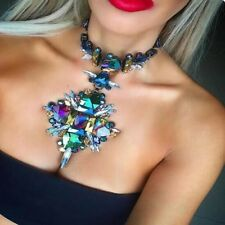 collar colgante multicolor cristal Luxury Boho Crystal Diamond Pendant Necklace