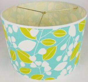 "NEW Drum Lamp Shade 15"" Dia 10"" H Modern Berries Blue Fabric"