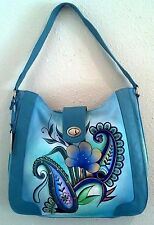 Anuschka Hand-Painted Leather, Large, Tote, ZIP TOP, Floral Paisley
