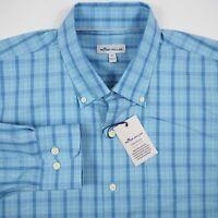 Peter Millar Crown Soft Stretch Men's XL Blue Long Sleeve Button Up Plaid Shirt