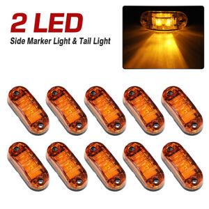 10 Pcs Orange Amber 2 LED Side Marker Indicators Clearance Lights Truck Lorry
