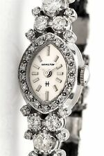 Vintage 1960s $6000 Hamilton 2ct VS H Diamond 14k White Gold Ladies Watch WTY