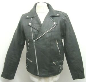 VINTAGE 80's BLL UK LEATHER PERFECTO MOTORCYCLE JACKET SIZE 42 / S