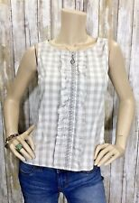 ODILLE Anthropologie 2 XS S Checkered Embroidered Ruffle Sleeveless Top EUC!