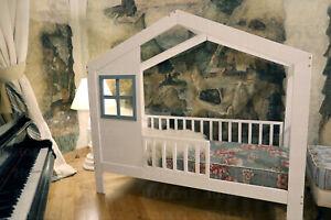 Hausbett für Kinder, FARBE, Kinderbett, Sicherheitbarrieren, 7 Tage