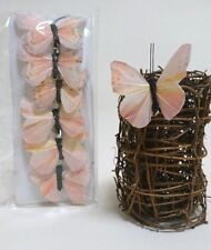6er Set Schmetterling mit Clip Deko Feder rosa creme gelb schwarz Frühling