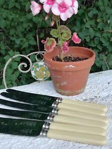 A Set of 6 Vintage James Ryals Sheffield Large Dinner Knives Faux Handles 23.5cm