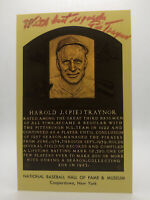 Pie Traynor Beckett Coa Autograph Signed HAll Of Fame Plaque Postcard Autograph