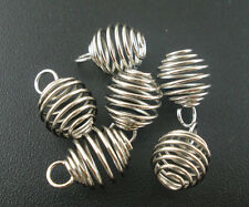 100 PCs Silver Tone Spiral Bead Cages Pendants Accessories 8x9mm