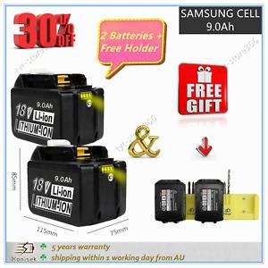 2X 18V 9.0 Ah Battery For Makita BL1830B BL1840B BL1850B BL1860B + Free Holder