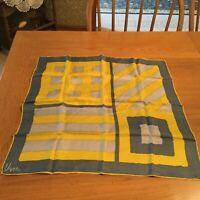 "Vintage Vera Neumann scarf. All silk. Gray yellow Geometric. Stunning! 22"""