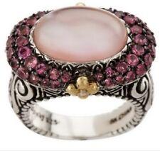 Barbara Bixby Sterling Silver 18K Pink Tourmaline MOP Ring Sadhana SZ 9 $349