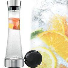Wasserkaraffe 1L Kühl Akku Deckel + Sieb Glas Karaffe Krug Saft Flasche Dekanter