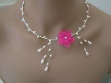 Collier couleur ivoire rose Fuchsia p robe de Mariée/Mariage/Soirée pas cher