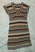 Gap Knitted Brown Chevron Sweater Dress - Girls M/8 - Pre-Owned