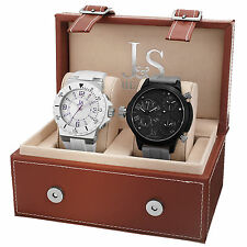 New Men's Joshua & Sons JS-46-02 Quartz Multifunction Silicone Strap Watch Set