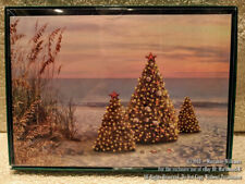 New 12 Christmas Greeting Cards 3 Christmas Tree Beach Ocean Decorated Sea Shell
