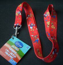 "Lot of 2 Disney Pin Trading Lanyards 18.5"" Length Red Mickey Goofy Pluto Donald"